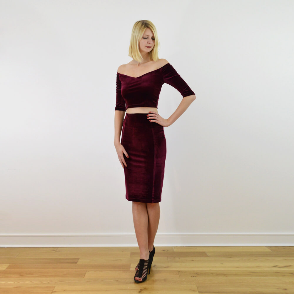 Red velvet Audrey crop top and pencil skirt set