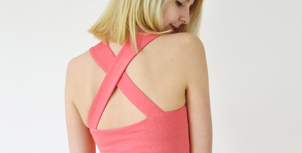 Riviera Style Vintage Sweetheart Crop Top in Coral Pink back view