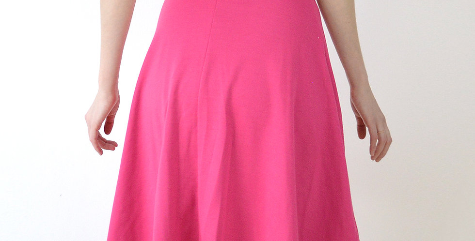 Riviera Style Knee Length Skater Skirt in Hot Pink front view