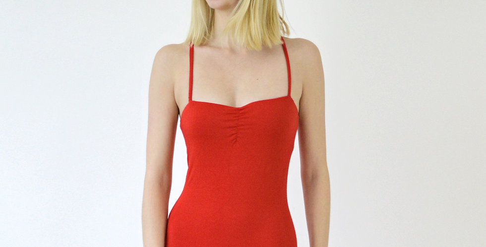 Una Sexy Red Bodycon One Piece Bodysuit with Skinny Straps close up front view