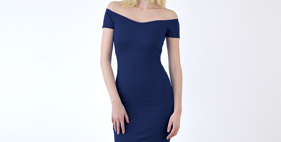 Bardot 40s-Style Sweetheart Neck Wiggle Dress in Navy front view
