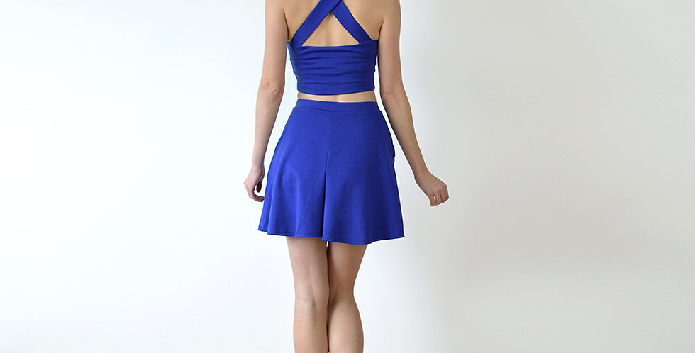 Bebe Pin Up Two Piece Co-Ords Set in Royal Blue full back view