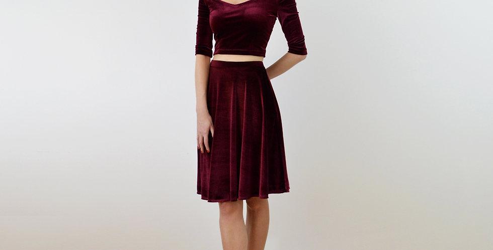 COCO | Red Velour Off Shoulder Crop Top and Skater Skirt Set