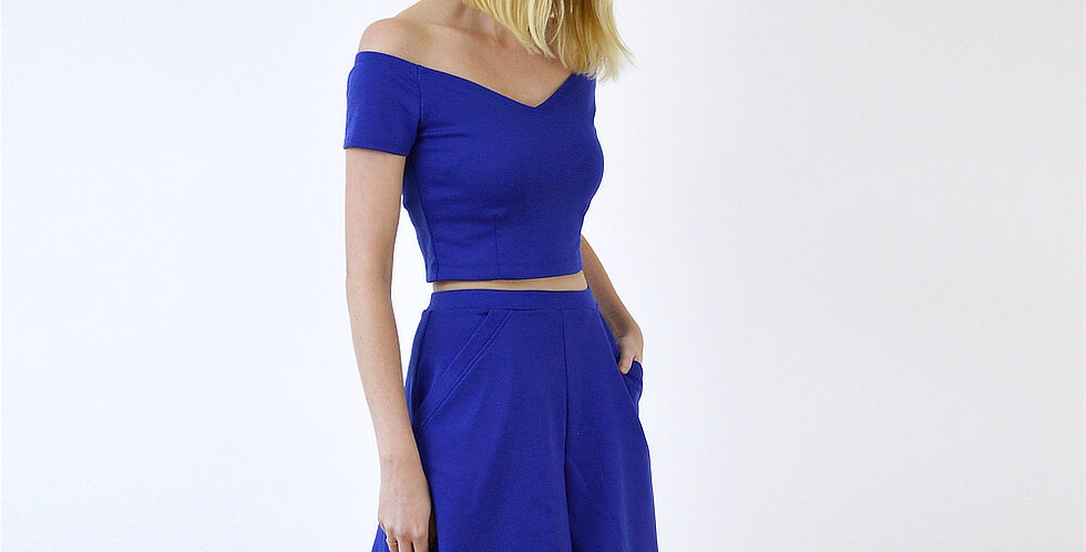 Peggy Summer Two Piece Outfit in Royal Blue