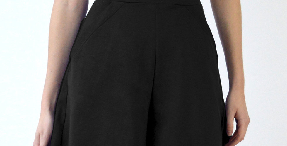 40s Style Beach High Waisted Short Culottes in Black front view