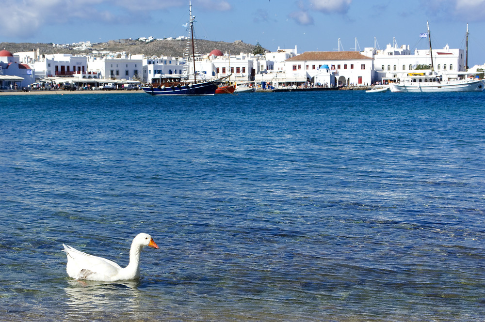 Sea view over Mykonos town