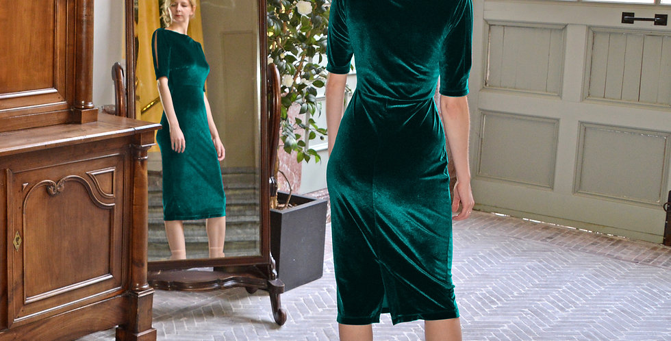 Velvet Evening Dress in Dark Forest Green