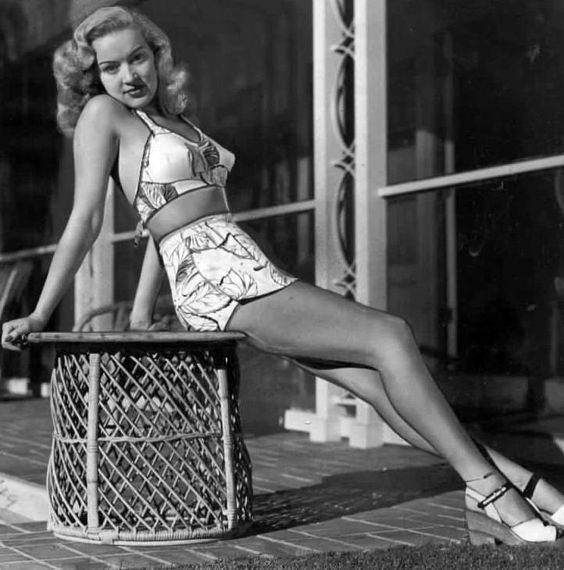 1940s Betty Grable posing in swimwear