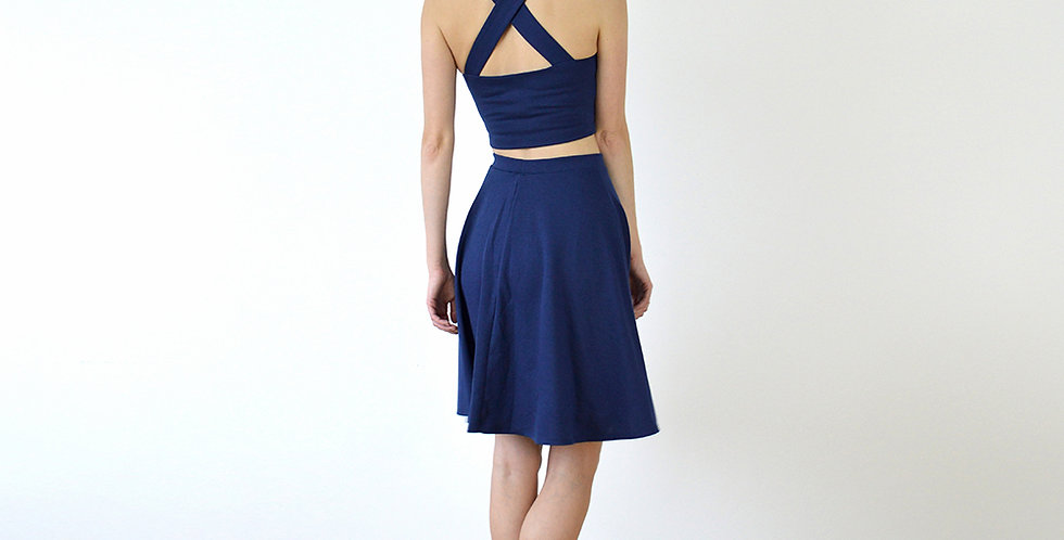 Sweetheart Crop Top and Skater Skirt Set in Navy full back view