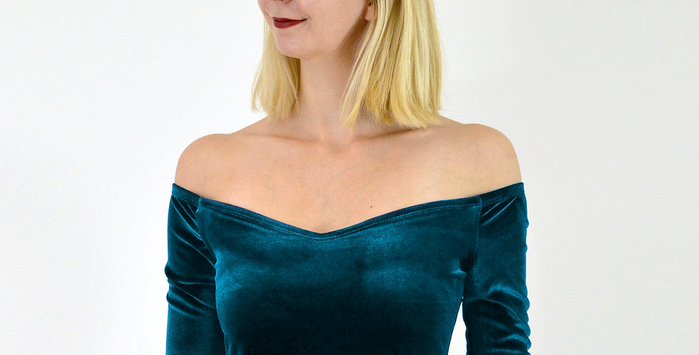 Velvet Midriff Crop Top in Teal Blue
