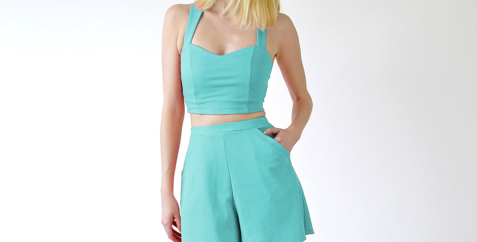 Sweetheart Crop Top and Matching Shorts Set in Mint Green