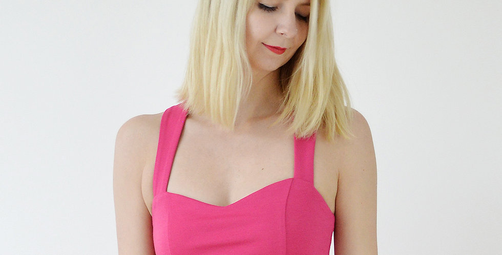 Vintage Style Cross Strap Fitted Crop Top in Hot Pink front view