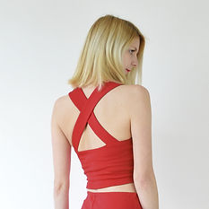 Red strappy sweetheart crop top