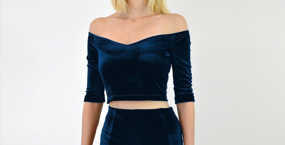 Navy Blue Velvet Crop Top
