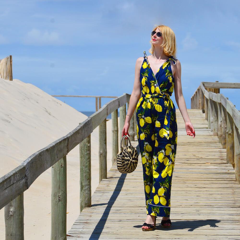 Marlene lemon print jumpsuit on the boardwalk