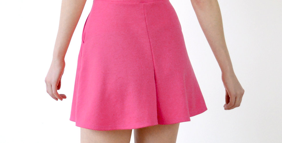 Vintage Style Culotte Shorts with pockets in Hot Pink back view