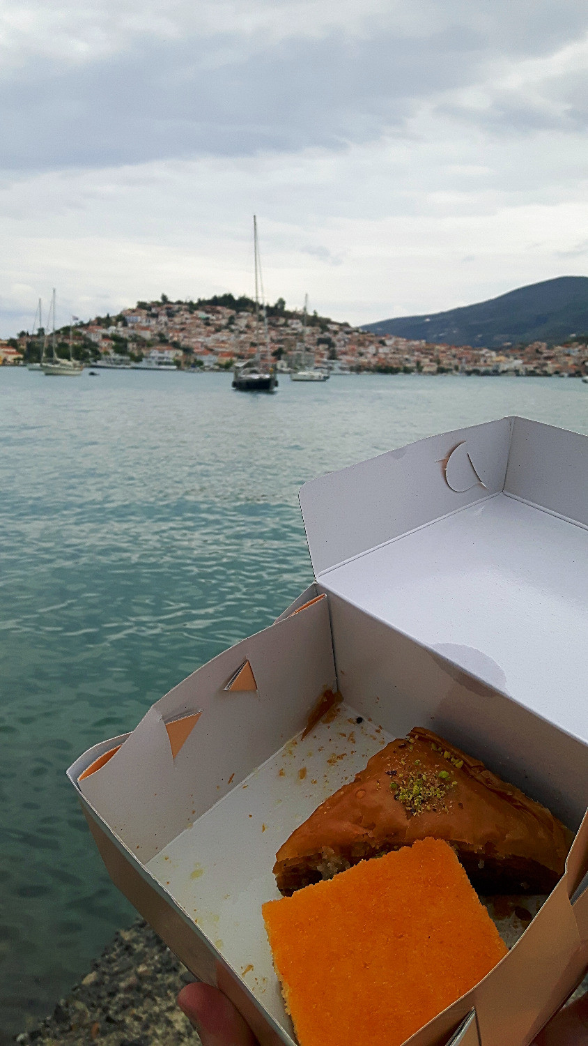 Food with a view!  Cake and baklava from Poros