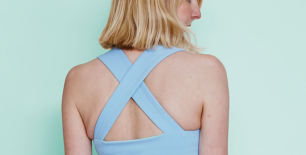 Pastel Blue Crop Top with Wide Straps back view