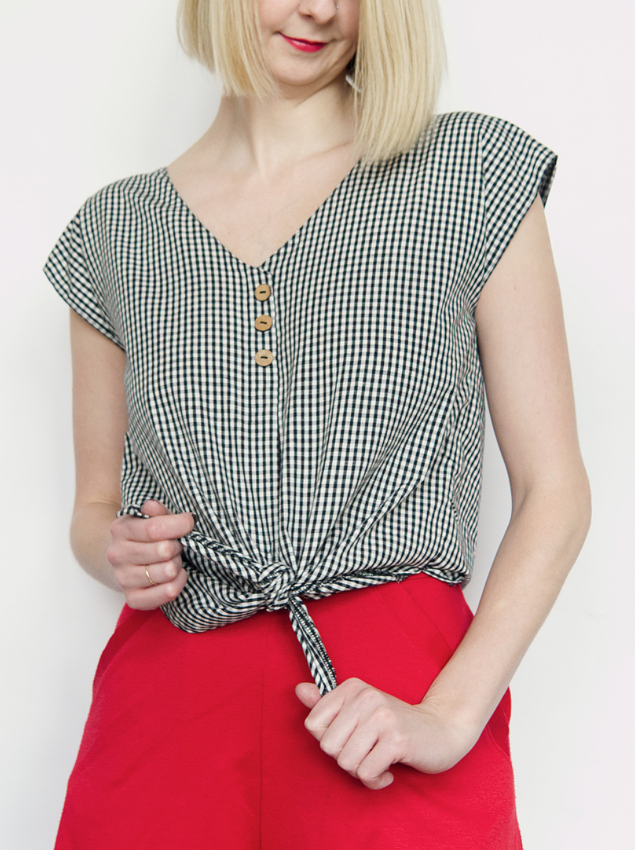 Lana gingham tie-up blouse