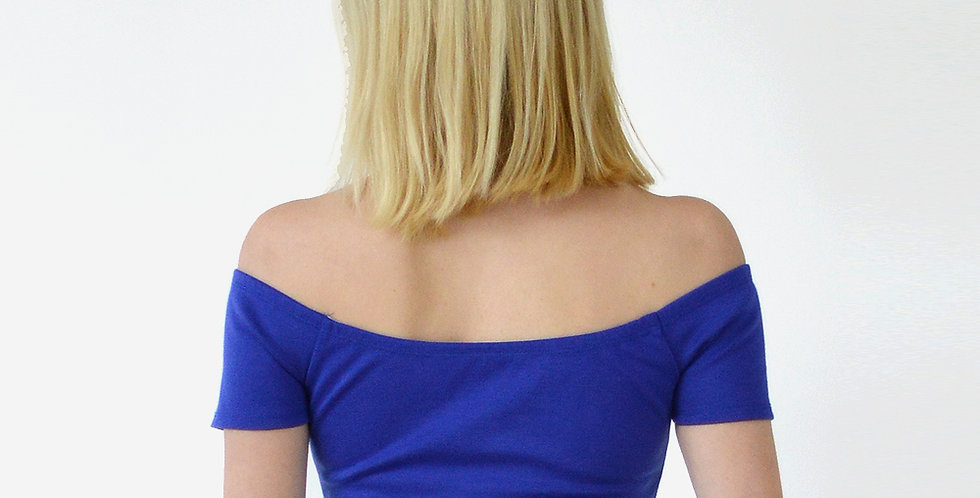Off Shoulder Short Sleeve Crop Top in Royal Blue back view