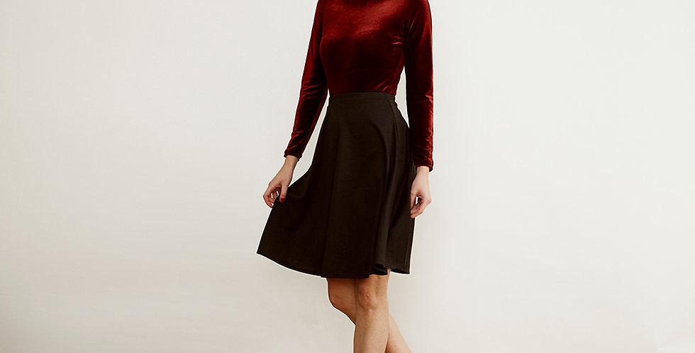 Sabrina Red Velvet Bodysuit Top with skirt