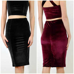Velour pencil skirts by Stylecamp