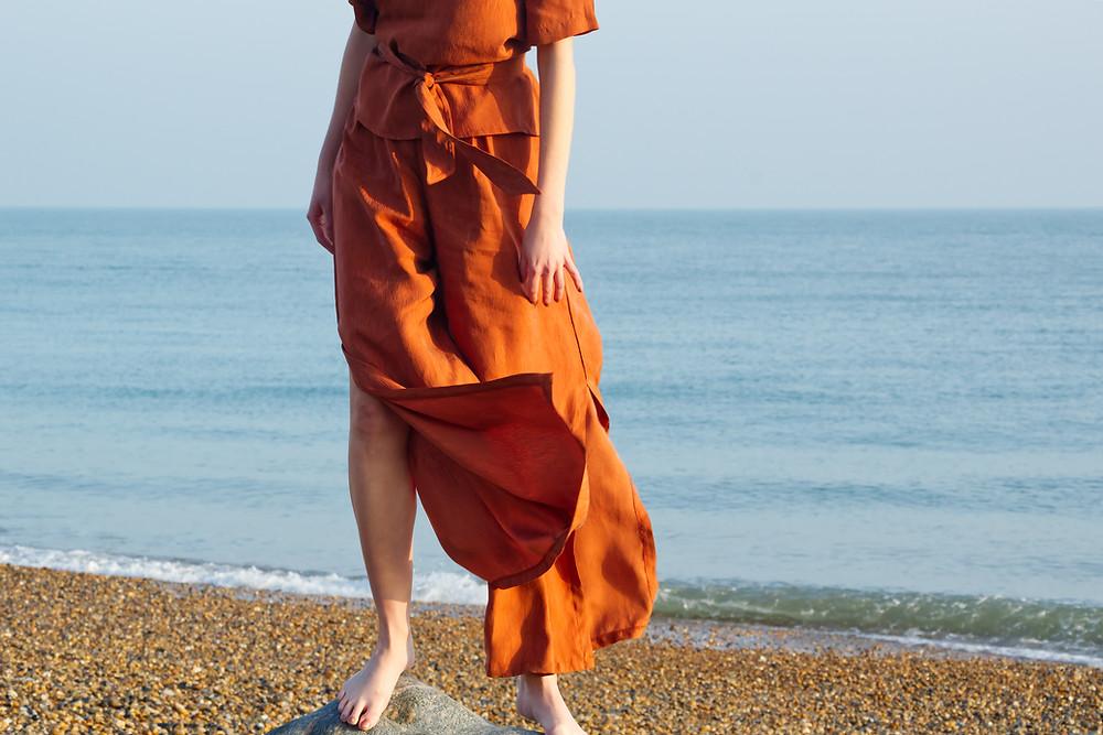 cupro wide leg summer trousers burnt orange