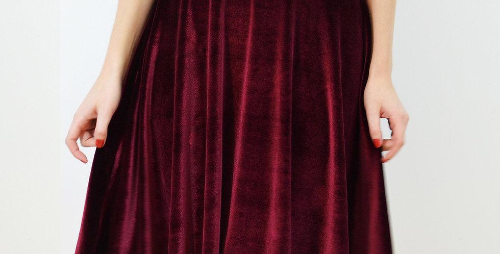 High Waist Velvet Skater Skirt in Red