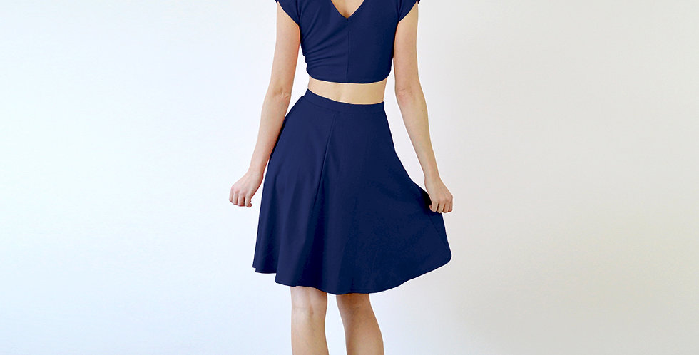 Lupe Riviera Style Two Piece Dress Set in Navy full back view