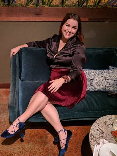 Dance outfit with satin shirt, velvet skirt and shoes