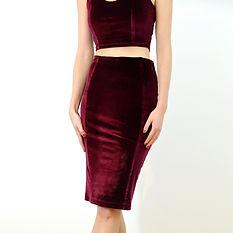 Red velvet high waist pencil skirt