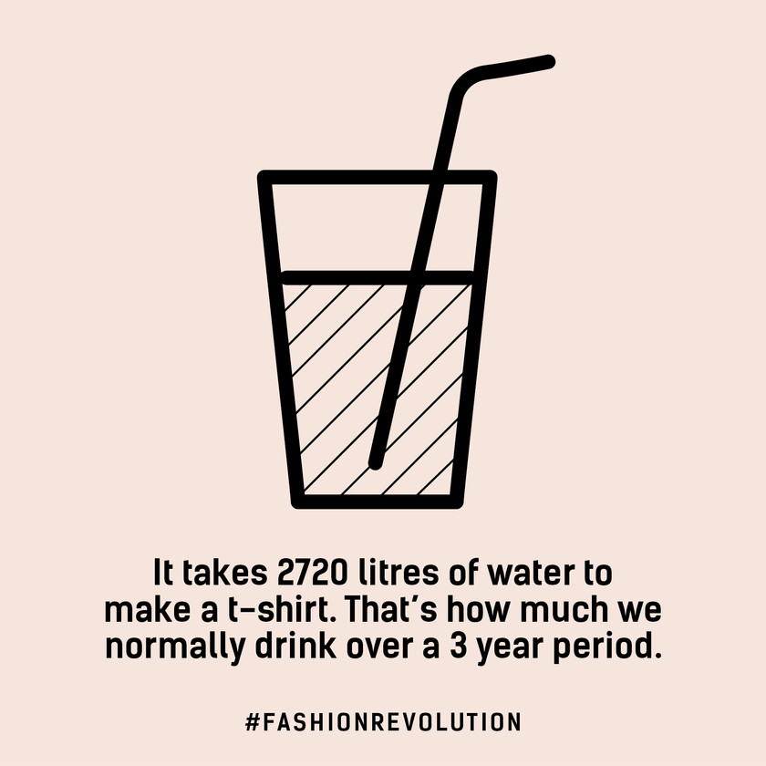It takes 2720 litres of water to make a t-shirt - the same amount we would drink over a 3 year period