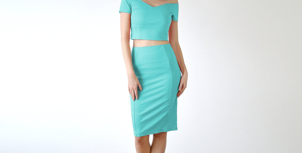 Top & Pencil Skirt Co-Ord Set in Mint Green