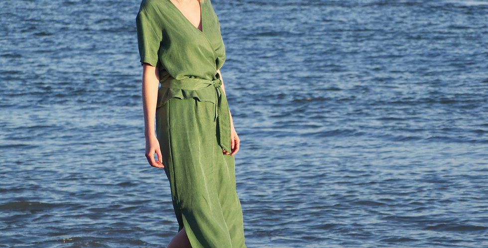 CO-ORDS   Silky Cupro Two Piece Jumpsuit in Olive Green