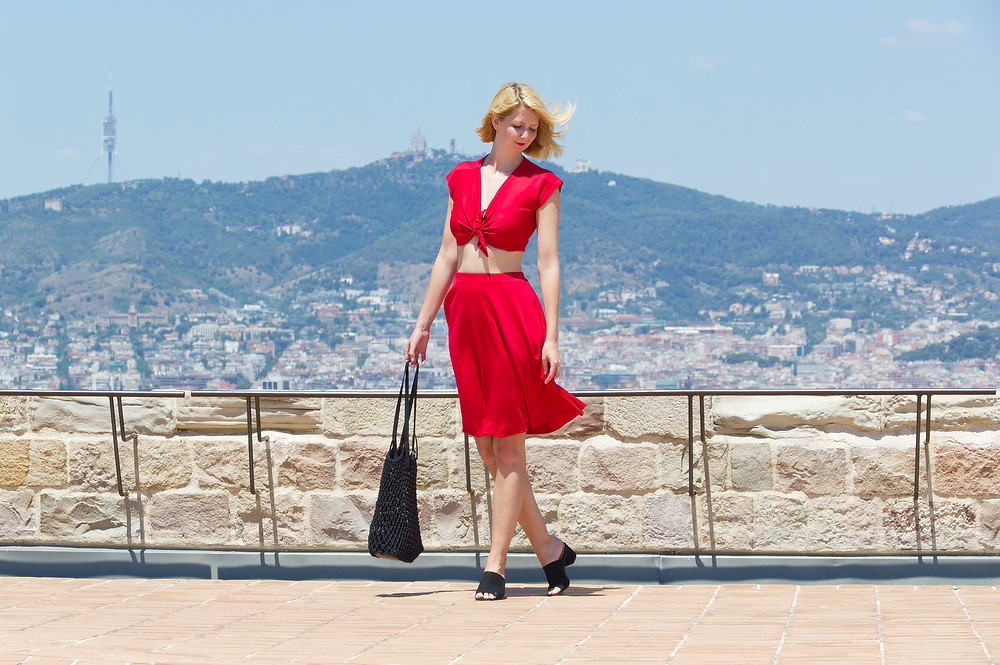 Lupe red two piece top and skirt set in Barcelona