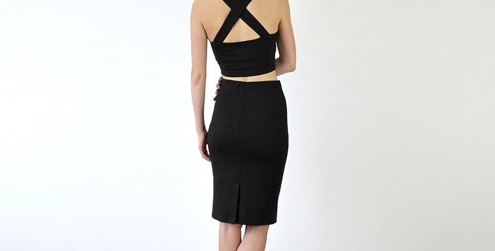 Kirsten Bralet and Pencil Skirt Set in Black full back view