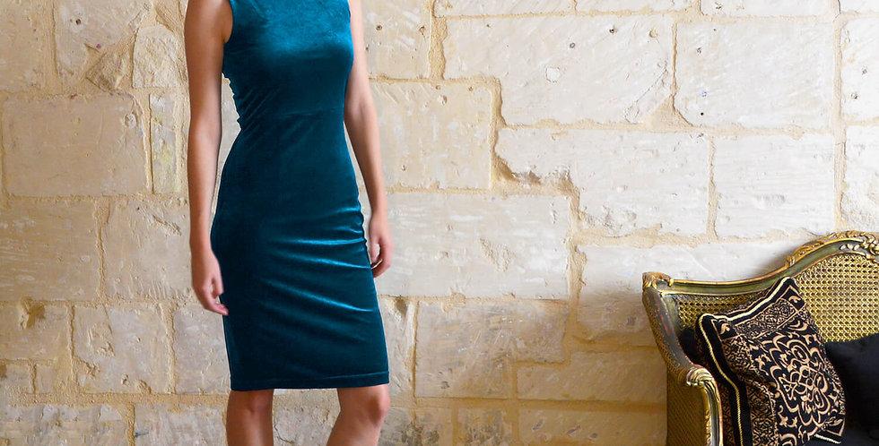 Marilyn Velvet Hourglass Dress in Teal Blue
