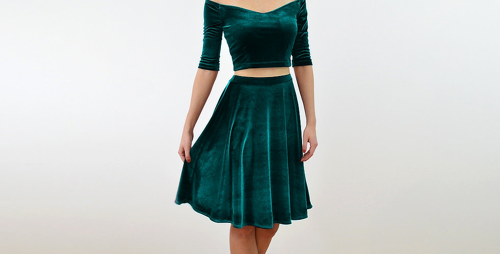 COCO | Green Velvet Crop Top & Skater Skirt Two Piece Dress