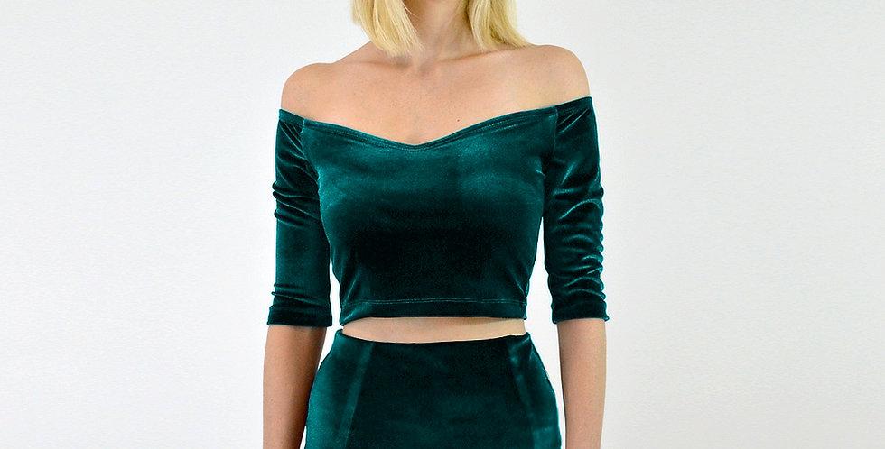 Green Velvet off shoulder crop top
