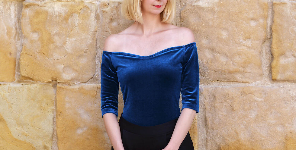 Velvet Bardot Top with Sleeves in Navy Blue