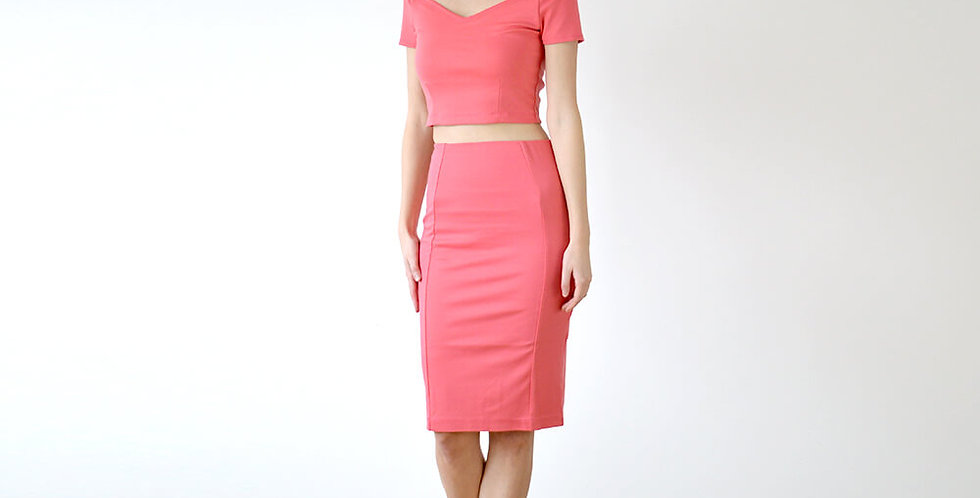 Audrey Two Piece Dress Set in Coral Pink full front view