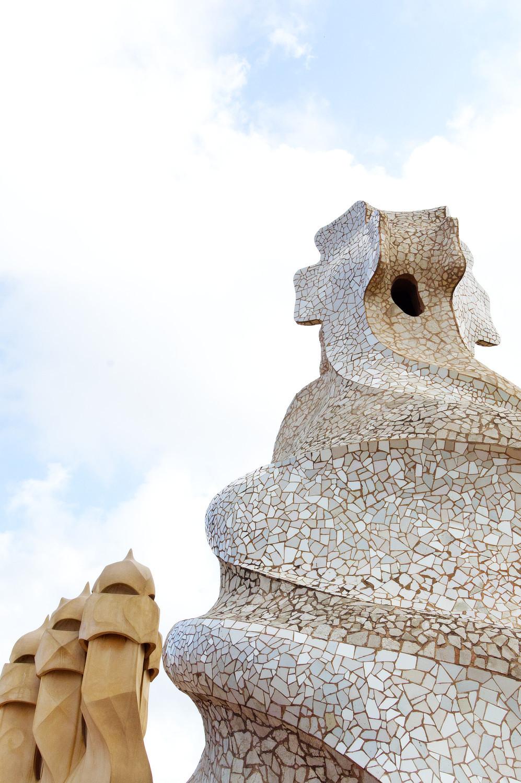 Gaudí mosaic chimenys of Casa Milà