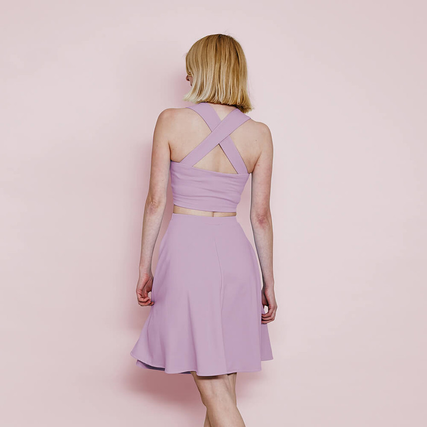 With sweetheart crop top and skater skirt in pastel lilac