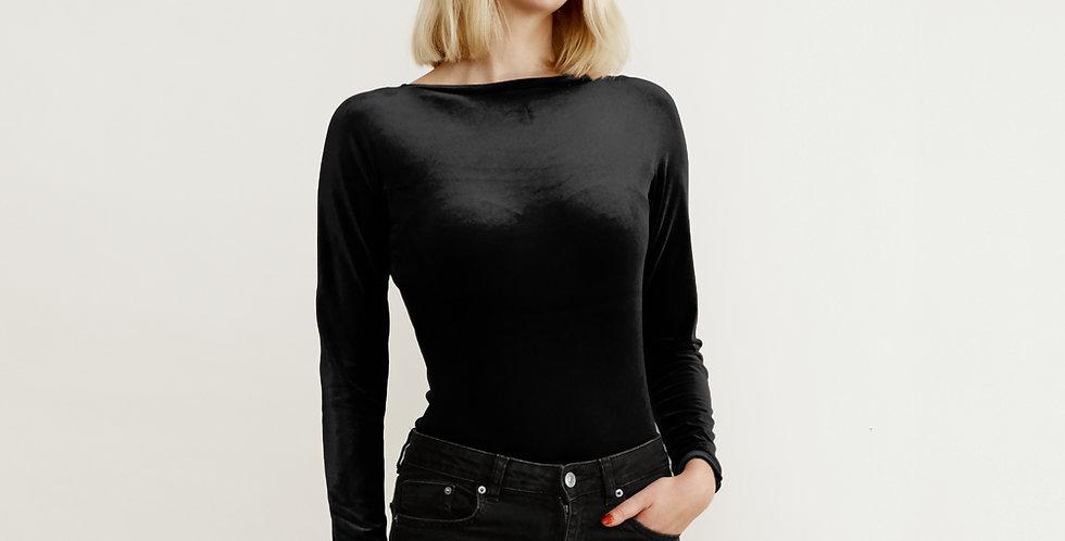 Sabrina Black Velvet Women's Bodysuit Top with jeans