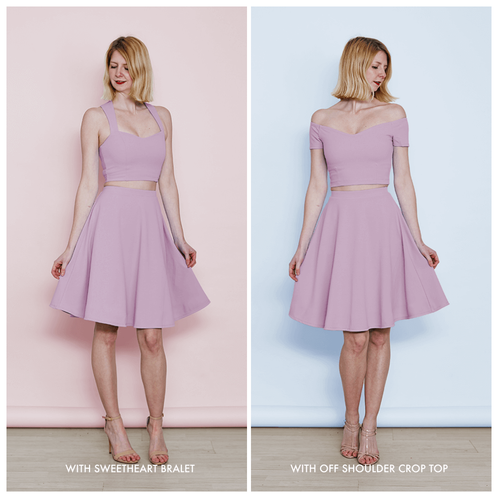 64dd97c014c21d ... Lilac Purple Pastel Coloured Skater Skirt with matching crop tops ...
