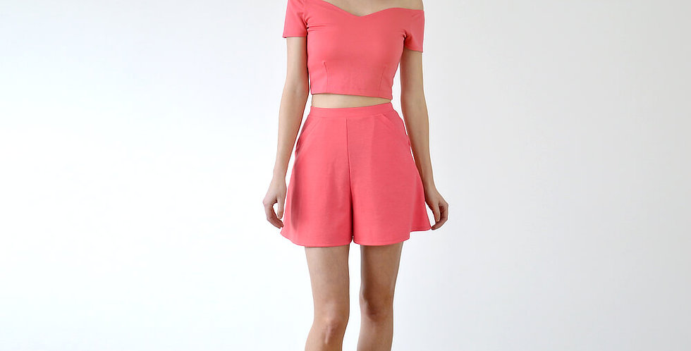 Peggy Off Shoulder Co-Ord Set in Coral Pink full front view