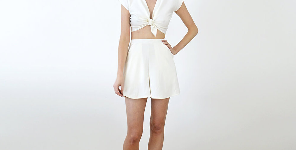 AVA | Women's White Pin Up Set with Vintage Tie Up Crop Top and Shorts
