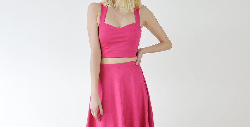 Skater Skirt and Crop Top Outfit in Hot Pink front view