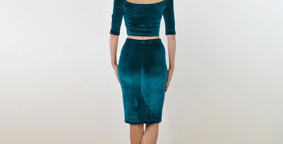 Audrey Teal Blue Velvet Two Piece Dress Set full back view