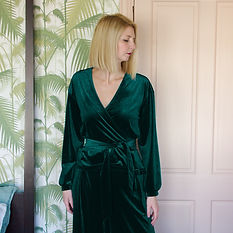 Green velvet wrap top and trousers lounge set